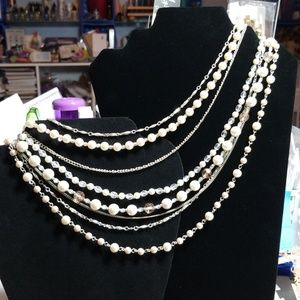 Jewelry - Silver, pearl, & clear faceted-layered necklace